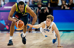 Anthony Randolph of Slovenia vs Lauri Markkanen of Finland  during basketball match between National Teams of Finland and Slovenia at Day 3 of the FIBA EuroBasket 2017 at Hartwall Arena in Helsinki, Finland on September 2, 2017. Photo by Vid Ponikvar / Sportida