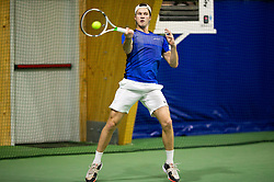 Tino Kovacic in action during Slovenian National Tennis Championship 2019, on December 21, 2019 in Medvode, Slovenia. Photo by Vid Ponikvar/ Sportida