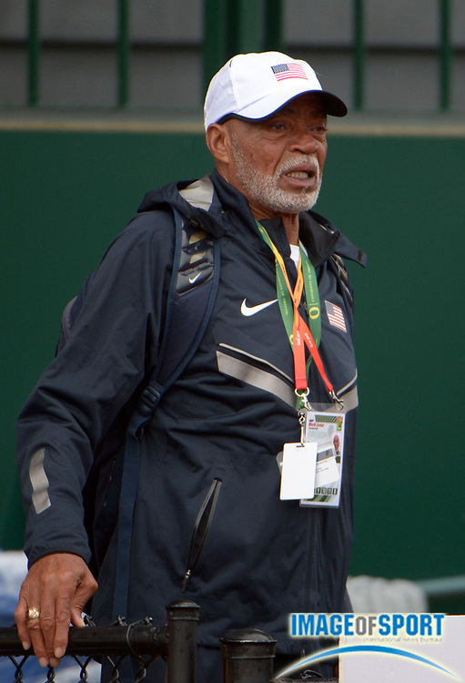 Jul 23, 2014; Eugene, OR, USA; United States jumps coach Norm Tate at the 2014 IAAF World Junior Championships at Hayward Field.