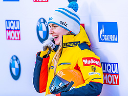 17.01.2020, Olympia Eiskanal, Innsbruck, AUT, BMW IBSF Weltcup Bob und Skeleton, Igls, Skeleton, Damen, 2. Lauf, im Bild Jacqueline Loelling (GER) // Jacqueline Loelling of Germany reacts after her 2nd run of women's Skeleton competition of BMW IBSF World Cup at the Olympia Eiskanal in Innsbruck, Austria on 2020/01/17. EXPA Pictures © 2020, PhotoCredit: EXPA/ Stefan Adelsberger