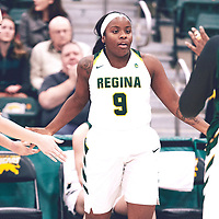 3rd year guard, Kyanna Giles (9) of the Regina Cougars during the Women's Basketball Home Game on Fri Nov 02 at Centre for Kinesiology,Health and Sport. Credit: Arthur Ward/Arthur Images