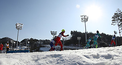 PYEONGCHANG, Feb. 25, 2018  Li Xin of China (C) competes during ladies' 30km mass start classic of cross-country skiing at the 2018 PyeongChang Winter Olympic Games at Alpensia Cross-Country Skiing Centre, PyeongChang, South Korea, Feb. 25, 2018. Li Xin got the 37th place in a time of 1:38:04.9. (Credit Image: © Li Gang/Xinhua via ZUMA Wire)