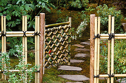 Bamboo gate and fence<br /> A Real Japanese Garden<br /> The Daily Telegraph. Design: Professor Masao Fukuhara, Chelsea 2001