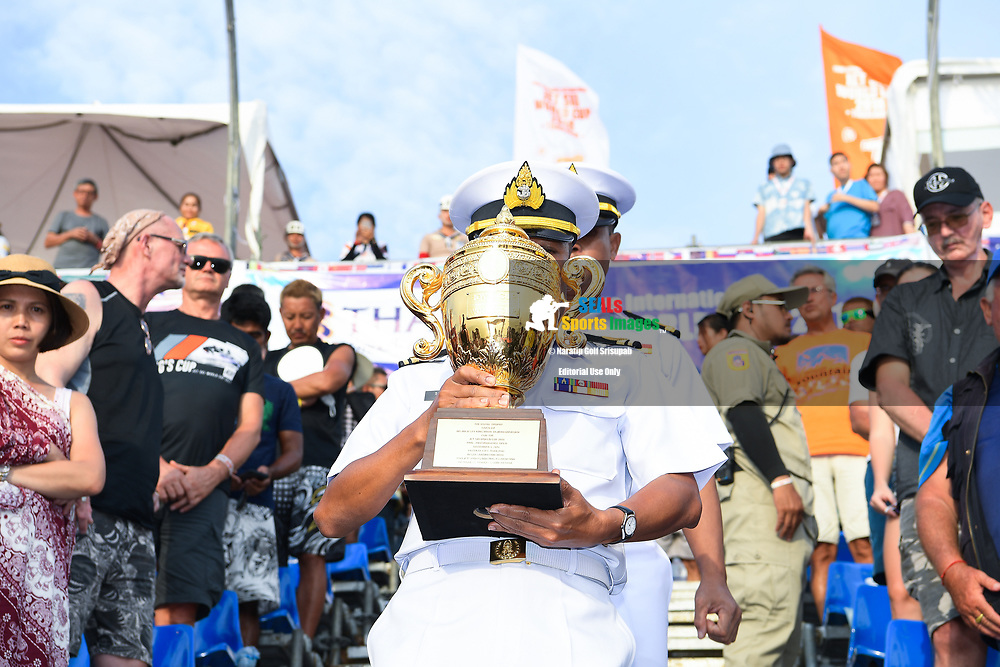 PATTAYA, THAILAND - DECEMBER 09: The Royal Thai Navy with the King's Cup during the Royal Trophy presentation for the Pro-Am Endurance Open at the Thai Airways International Jet Ski World Cup 2018, Jomtien Beach, Pattaya, Thailand on December 09, 2018. <br /> .<br /> .<br /> .<br /> (Photo by: Naratip Golf Srisupab/SEALs Sports Images)<br /> .<br /> Any image use must include a mandatory credit line adjacent to the content which should read: Naratip Golf Srisupab/SEALs Sports Images