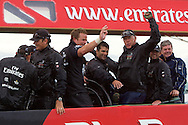NEW ZEALAND, Auckland, 14th February 2009, Louis Vuitton Pacific Series, The Crew of Emirates Team NZ celebrate victory in the LVPS.