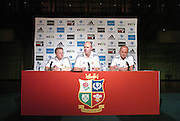 LIONS HEAD COACH SIR CLIVE WOODWARD IS FLANKED BY ASSISTANTS EDDIE O'SULLIVAN (L) AND ANDY ROBINSON (R) FOLLOWING THE ANNOUNCEMENT OF THE FIRST TEST SQUAD TO FACE THE ALL BLACKS IN THIS SATURDAY'S FIRST TEST.BRITISH & IRISH  LIONS TOUR TO NEW ZEALAND, LIONS PRESS CONFERENCE, CHRISTCHURCH, WEDNESDAY 22ND JUNE 2005.