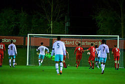 KIRKBY, ENGLAND - Friday, March 31, 2017: Liverpool's goalkeeper Daniel Atherton is beaten as West Ham United's Joe Powell scores a late equalising goal from the penalty spot during an Under-18 FA Premier League Merit Group A match at the Kirkby Academy. (Pic by David Rawcliffe/Propaganda)