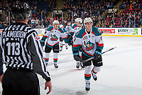 KELOWNA, CANADA - JANUARY 5: Jack Cowell #8 of the Kelowna Rockets skates to the bench to celebrate a goal against the Seattle Thunderbirds on January 5, 2017 at Prospera Place in Kelowna, British Columbia, Canada.  (Photo by Marissa Baecker/Shoot the Breeze)  *** Local Caption ***