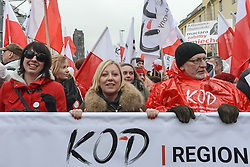 November 11, 2016 - Warsaw, Poland - The Committee for the Defense of Democracy (KOD) joined by political opposition leaders and supporters during their march on Friday 11th November to mark the 98th anniversary of Poland's independence. .On Friday, 11 November 2016, in Warsaw, Poland. (Credit Image: © Artur Widak/NurPhoto via ZUMA Press)