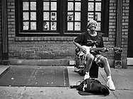 Street musician on West 72nd street, New York City