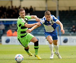 Bristol Rovers' Lee Brown and Forest Green Rovers's James Marwood battle for the ball - Photo mandatory by-line: Nizaam Jones /JMP - Mobile: 07966 386802 - 03/05/2015 - SPORT - Football - Bristol - Memorial Stadium - Bristol Rovers v Forest Green Rovers - Vanarama Football Conference.