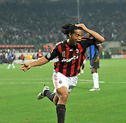 Ronaldinho of Milan celebrates after scoring the winning goal during the Serie A match between AC Milan and Inter Milan at the Stadio Giuseppe Meazza on September 28, 2008 in Milan, Italy.
