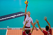 Jakub Jarosz from Poland in action during the 2013 CEV VELUX Volleyball European Championship match between Poland and Turkey at Ergo Arena in Gdansk on September 20, 2013.<br /> <br /> Poland, Gdansk, September 20, 2013<br /> <br /> Picture also available in RAW (NEF) or TIFF format on special request.<br /> <br /> For editorial use only. Any commercial or promotional use requires permission.<br /> <br /> Mandatory credit:<br /> Photo by &copy; Adam Nurkiewicz / Mediasport