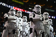 PHOENIX, AZ - MAY 14:  Star Wars Storm Troopers stand for the national anthem prior to the MLB game between the San Francisco Giants and Arizona Diamondbacks at Chase Field on May 14, 2016 in Phoenix, Arizona.  (Photo by Jennifer Stewart/Getty Images)