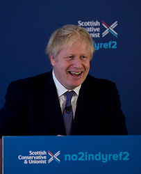 Prime Minister Boris Johnson launched the Scottish Conservatives manifesto in North Queensferry, Fife, with Scottish Conservative leader Jackson Carlaw.<br /> <br /> © Dave Johnston / EEm