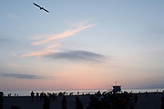 Near the boardwalk, the Santa Monica beach at sunset