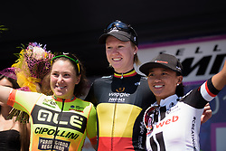 Top three on the stage, Jolien D'hoore, Chloe Hosking and Coryn Rivera - Stage 4 of the Giro Rosa - a 118 km road race, starting and finishing in Occhiobello on July 3, 2017, in Rovigo, Italy. (Photo by Sean Robinson/Velofocus.com)