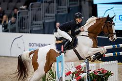 HIROTA Shino (JPN), Life Is Beautiful<br /> Göteborg - Gothenburg Horse Show 2019 <br /> Longines FEI Jumping World Cup™ Final<br /> Training Session<br /> Warm Up Springen / Showjumping<br /> Longines FEI Jumping World Cup™ Final and FEI Dressage World Cup™ Final<br /> 03. April 2019<br /> © www.sportfotos-lafrentz.de/Stefan Lafrentz