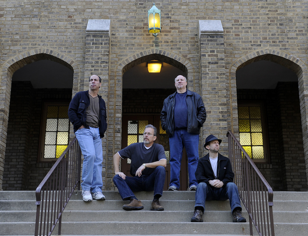 CHICAGO-NOVEMBER 05: Members of the band The Stingers pose for a publicity photo in Chicago, Illinois on November 5, 2011.  Members include (L to R) Henry Small (keyboard, harp and vocals), Ron Vesely (bass) , Dan Kening (guitar) and Mark Malen (drums and vocals).
