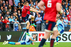 Gareth Steenson of Exeter Chiefs collides with Andrew Conway of Munster Rugby as he  converts his kick following the try  - Mandatory by-line: Ryan Hiscott/JMP - 13/10/2018 - RUGBY - Sandy Park Stadium - Exeter, England - Exeter Chiefs v Munster Rugby - European Rugby Champions Cup