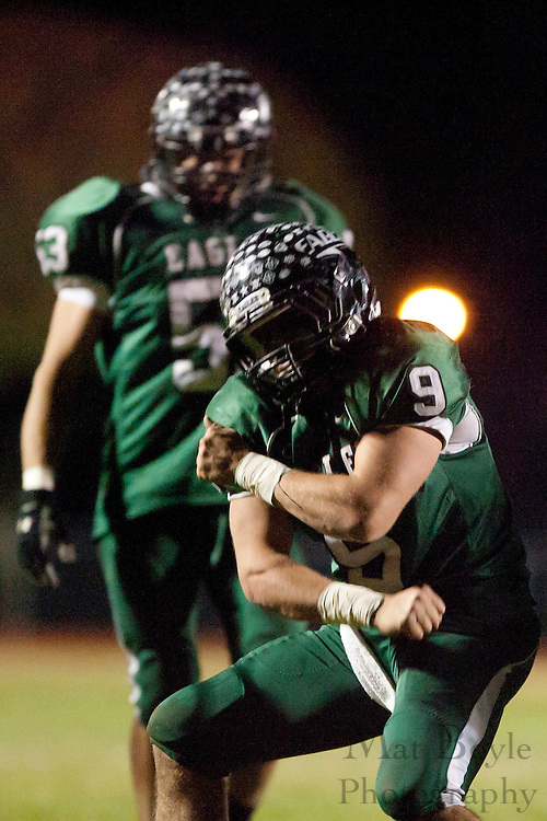 West Deptford High School's Phil Fisher (9) celebrates a sack during a Group 2 first round playoff game at West Deptford High School on Friday November 11, 2011. (photo / Mat Boyle)