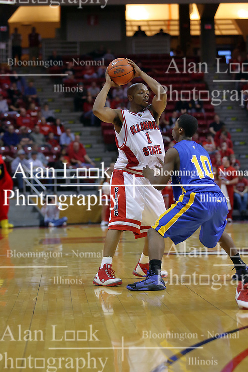 06 December 2008: Emmanuel Holloway picks up his dribble as he is confronted by Robert Murry during a game where the  Illinois State University Redbirds extended their record to 9-0 with a 76-70 win over the Eagles of Morehead State on Doug Collins Court inside Redbird Arena on the campus of Illinois State University in Normal Illinois