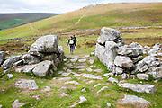 Entrance to the late Bronze age enclosed settlement site of Grimspound, Dartmoor national park, Postbridge, Devon, England, UK