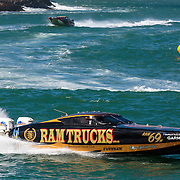 Ram Trucks, leads the charge round the inshore marker, Outboard Engine Class, Offshore Superboat Championships, Coffs Harbour, New South Wales, Australia