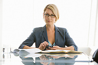Business woman working in conference room portrait