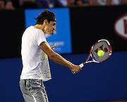 Tennis. Australian Open. Melbourne. Australia. Sunday 22.1.2012.Roger FEDERER (Sui) beat Bernard TOMIC (Aus) in straight sets.© ATP/ Damir IVKA<br /> <br /> - TENNIS Australian Open 2012 Melbourne - Rod Laver Arena -  - Australien - AUSTRALIE - copyright © ATP Damir IVKA