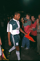 VLADIKAVKAZ, RUSSIA - Tuesday, September 12, 1995: Liverpool's captain John Barnes against FC Alania Spartak Vladikavkaz during the UEFA Cup 1st Round 1st Leg match at the Republican Spartak Stadium. (Photo by David Rawcliffe/Propaganda)