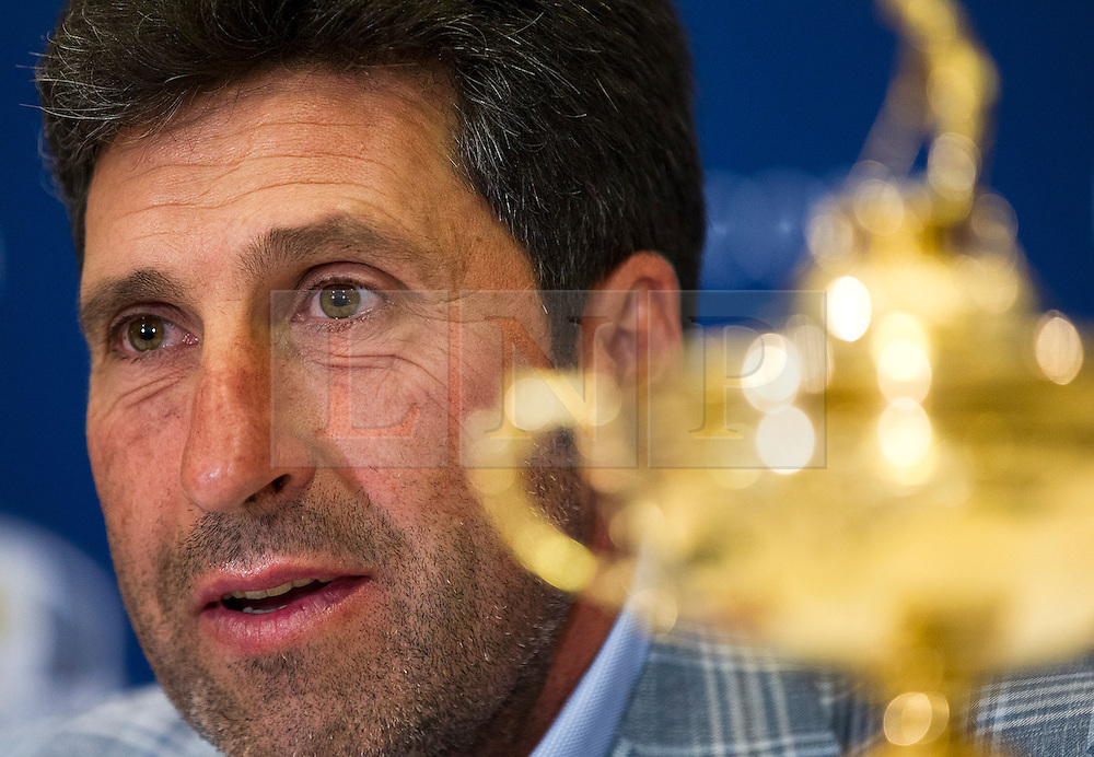 © Licensed to London News Pictures. 02/10/2012. LONDON, UK. European Ryder Cup Team captain José María Olazábal of Spain is seen with the Ryder Cup trophy at a press conference at Heathrow Airport in London today (02/10/12) after winning the 39th Ryder Cup in Chicago, USA, on Sunday (30/09/12). Photo credit: Matt Cetti-Roberts/LNP