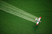 Aerial View of a crop duster spraying a potato field