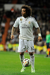 01.03.2015, Estadio Santiago Bernabeu, Madrid, ESP, Primera Division, Real Madrid vs FC Villarreal, 25. Runde, im Bild Real Madrid&acute;s Marcelo Vieira // during the Spanish Primera Division 25th round match between Real Madrid CF and Villarreal at the Estadio Santiago Bernabeu in Madrid, Spain on 2015/03/01. EXPA Pictures &copy; 2015, PhotoCredit: EXPA/ Alterphotos/ Luis Fernandez<br /> <br /> *****ATTENTION - OUT of ESP, SUI*****