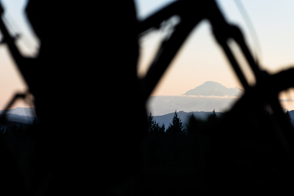 Mt Baker seen from Chuckanut Ridge. Larrabee State Park, WA.