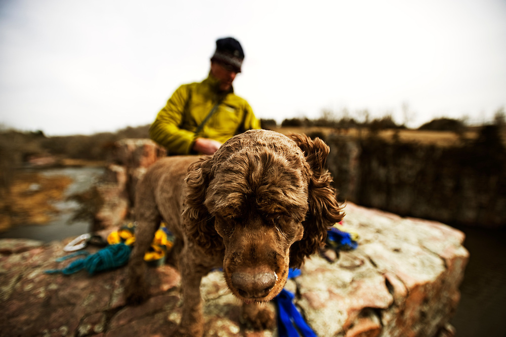 Charlie inspects the packing after climbing at Palisades State Park in Eastern South Dakota on March 26, 2010.