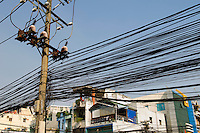 Large Group of Power Lines in City