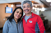 Owners Archana and Deepak Shrestha pose for a portrait inside the Hungry Badger Cafe in Madison, WI on Sunday, April 14, 2019.