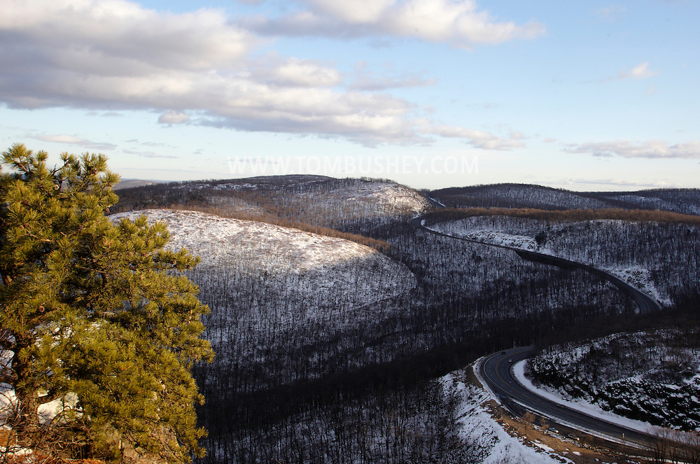Cornwall, New York - A view of Route 9W, at lower right, as it winds through the Hudson Highlands on the west side of the Hudson River on Feb. 20, 2010.