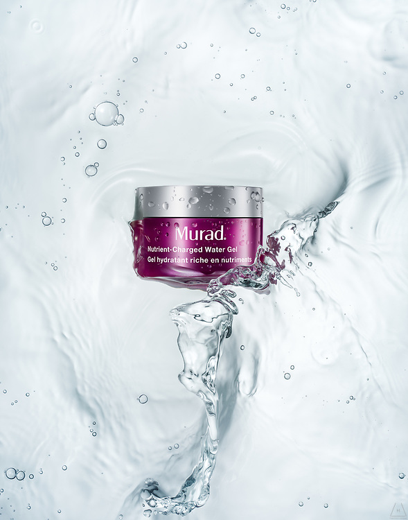 Murad splashes on moisturizer container shot in Los Angeles by Timothy Hogan