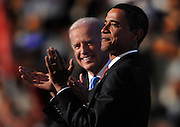 Joe Biden and Barack Obama appear together in the Pepsi Center on Wednesday, August 27th in Denver, Colorado the third night of the 2008 Democratic National Convention. (David Rogowski, AOL)