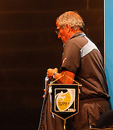 """Uruguay manager Oscar Tabarez walks past a FIFA sign saying """"My game is fair play"""" after the Uruguay press conference at Maracana Stadium, Rio de Janeiro, Brazil, ahead of their last 16 FIFA World Cup 2014 match against Colombia<br /> Picture by Andrew Tobin/Focus Images Ltd +44 7710 761829<br /> 27/06/2014"""