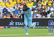 Jofra Archer of England bowling during the ICC Cricket World Cup 2019 semi final match between Australia and England at Edgbaston, Birmingham, United Kingdom on 11 July 2019.