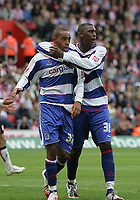 Photo: Lee Earle.<br /> Southampton v Queens Park Rangers. Coca Cola Championship. 30/09/2006. QPR's Ray Jones (R) congratulates Dexter Blackstock after he scored their first goal.