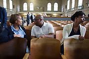 "Talise Trevigne, Musa Ngqungwana, Meroë Khalia Adeeb (left to right) prepare before a performance at Attica Correctional Facility in Attica, New York on Tuesday, July 25, 2017. The Glimmerglass Festival, an opera company in Cooperstown, New York, performed songs from George Gershwin's ""Porgy and Bess"" for inmates."