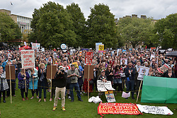 © Licensed to London News Pictures.  09/09/2017; Bristol, UK. Bristol March Against Austerity. Bristol's elected Mayor Marvin Rees and Bristol People's Assembly have called a march and rally against the severe cuts in local government funding that Bristol City Council is facing from central government. A coalition of organisations, led by Bristol People's Assembly, have come together to send a powerful message to the Conservative Government to give Bristol and other cities the funding need to keep vital public services. Mayor Rees will take part in a delegation of core UK cities to lobby the Government on Tuesday 12 September.<br /> Speakers at the Bristol rally include Owen Jones. Picture credit : Simon Chapman/LNP