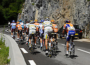 France, Sallanches, 22 July 2009: With Thor Hushovd (Nor) Cervelo Test Team on his own up the road picking up points for the Maillot Vert, this was the second group on the Côte d'Araches during Stage 17 Bourg St Maurice to Le Grand Bornand. Images from 2009 Tour de France cycle race. Photo by Peter Horrell / http://peterhorrell.com .