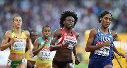 London, August 10 2017 . Noélie Yarigo, Benin, and Ajee Wilson, USA, in the women's 800m heats on day seven of the IAAF London 2017 world Championships at the London Stadium. © Paul Davey.