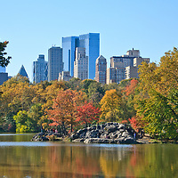 Central Park in the fall, view of Buildings on Central Park West