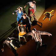 October 3, 2012 - Brooklyn, NY : The cast, including Hugues Quester (in center, wearing black), performs in a technical rehearsal of the Théâtre de la Ville's production of French-Romanian playwright Eugène Ionesco's 1959 play 'Rhinocéros' at BAM in Brooklyn on Wednesday night. The traveling production will perform from Oct. 4-6, 2012. CREDIT: Karsten Moran for The New York Times